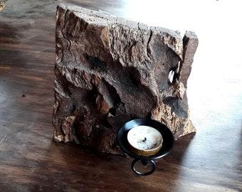 rustic candleholder, decorative candleholder, natural wood candleholder,