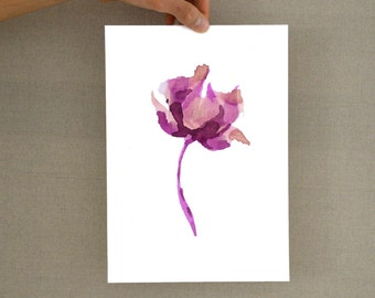 Flower glicee print- Watercolor art print , floral print, botanical print, glicee, art print, flower print, flower art illustration, art