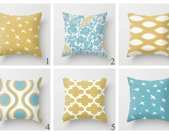 Bird Pillow Covers Blue Decor Floral Pillows Decorative Pillow Yellow Slipcover Cushion Covers