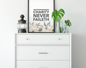 Charity Never Faileth | Watercolor Floral  Boho Art Printable | Home Décor Typography Poster | Digital Print INSTANT DOWNLOAD