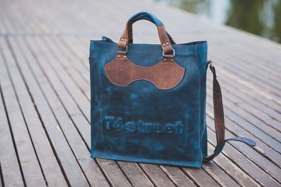 Luxury Blue Leather Bag, Top Handle Bag, 74street messenger bag, Zippered Bag, Full Grain Laptop Bag, Vertical Laptop Bag,