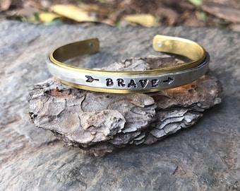 Custom skinny mixed metal bracelet BRAVE