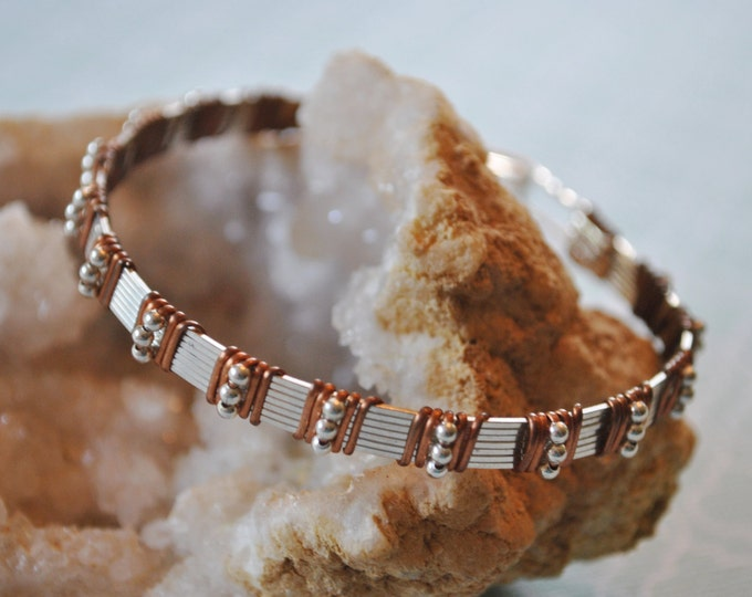 Sterling silver and copper wire wrapped bracelet, metal bracelet