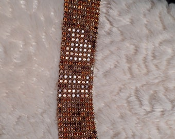Dazzling Rhinestone Bracelet with Earth Tone Colors