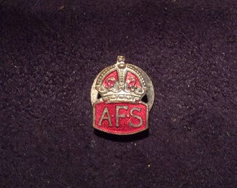 Vintage World War 2 British Auxiliary Fire Service Buttonhole Badge