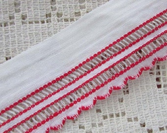 2 Yards Vintage Cotton Trim Jacquard Ribbon White With Red Openwork Very Nice Quality VT 130