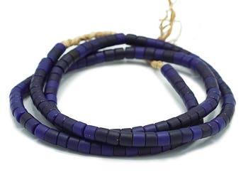 120 Vintage Matte Midnight Blue Kenya Turkana and Maasai Beads (5mm) - African Trade Beads - Old Tribal Glass Beads (32-KEN-TUR)