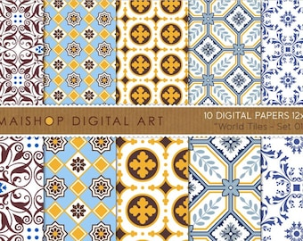 Digital Paper 'World Tiles - Set 01' Blue, White, Mustard and Brown Seamless HQ Geometric Patterns for Scrapbooking, Invites, Cards...