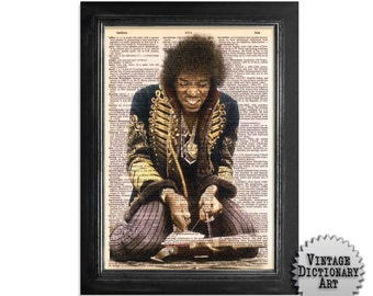 The Jimi Hendrix Experience - Print on Vintage Dictionary Paper - 8x10.5