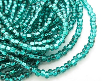 Dark Teal Green Seed Beads, 8-0 Silver lined Green Bead, Czech Glass Seed Bead (2 strands)
