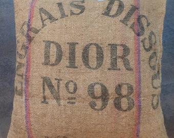 Dior burlap pillow