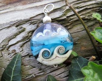 """Large pendant """"BEACH-FANTASY IX"""" - hand-crafted lampwork bead, sterling silver - one of a kind!"""