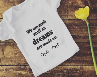 DREAMS Baby Vest | Shakespeare Quote Baby Suit | Baby boy | Baby Girl | Baby Gift | Baby Shower