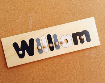Wooden name puzzle etsy 7 letter wooden personalised name puzzle options include engraving and shapes negle Images