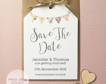 Save The Date Luggage Tag Vintage Bunting x 10 Pack