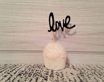 Black Love Cupcake Toppers Wedding Cupcake Toppers Valentine's Day Birthday Appetizer Horderves Food Pick