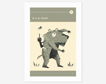 B is for BEAR (Giclée Fine Art Print/Photo Print/Poster Print) by Jazzberry Blue