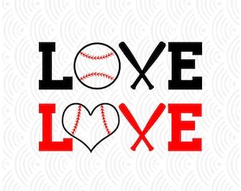Baseball Love; SVG, DXF, Ai, Eps, Pdf, Png, Jpeg...Designs for Digital Cutting