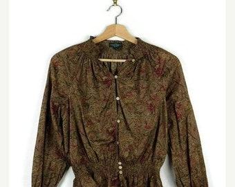 ON SALE Ralph Lauren  Brown/Floral printed Long sleeve Cotton Blouse*