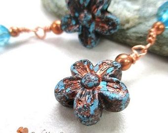 Shoulder Duster Earrings, Aqua Blue and Copper Dangles, Bohemian Boho Gypsy Jewelry for Women, Extra Long Dangles with Flowers  E354