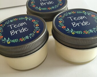 Wedding Party Gift// TEAM BRIDE //Soy Candle Favors//Jelly Jar // Wedding Favor // custom label