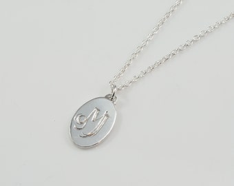 Customizable Personalized Hand-Engraved Name Monogram Initial Oval Disc Pendant Necklace - bridesmaid gift sweet sixteen sterling silver