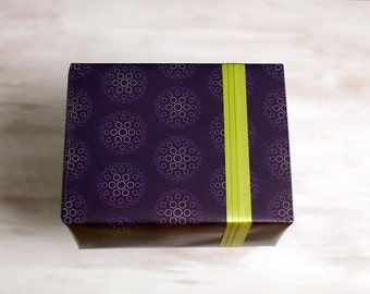 Purple Dots Recycled Gift Wrap, Modern Wrapping Paper, Geometric, Made in the USA, Everyday Gift Wrap, Any Occasion, Circles, Eco Gift Wrap