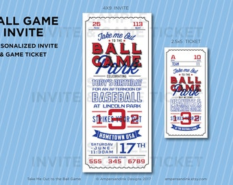 Take Me Out to the Ball Game Ball Park, Baseball Printable Party, Baseball Theme, Birthday Party Kit, Personalized Invite and Game Ticket