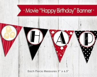 Movie Night Happy Birthday Banner - Instant Download