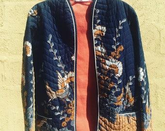 Floral & Bird Print Cotton Jacket