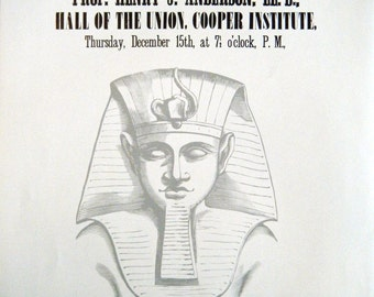 1800s Poster 1860s NY Historical Society Lectures on Egypt Unrolling of the Mummy Vintage Black and White Advertising Poster Size Book Plate
