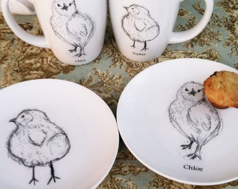 Personalized, Chick Mug Plate Dishe Serving, Baby Gift, Couples gift, Mr. and Mrs., Dessert Set (2 Mugs & 2 Plates Only)