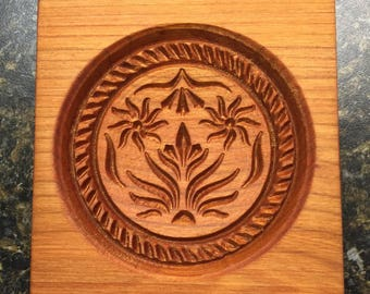DOUBLE THISTLE- Wood Carved SPRINGERLE Cookie Mold - Handmade Usa