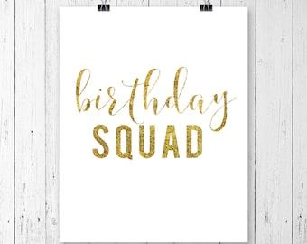 INSTANT DOWNLOAD! Birthday Squad SVG, Birthday Svg, Svg, Clipart, Svg, Dxf, Pdf, Cricut Cut Files, Silhouette Cut Files, Glitter Svg