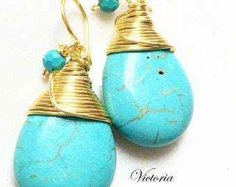 Turquoise Earrings, Arizona Turquoise Dangle Earrings