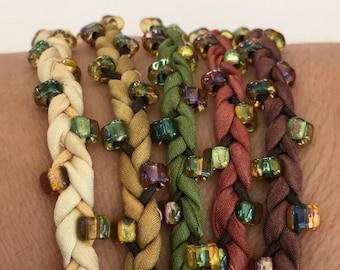 DIY Bracelet Silk Wrap Bracelet or Silk Cord Kit You Make Five Adult Friendship Bracelets in Woodland Realm Palette