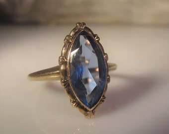 Vintage Ring, Art Nouveau Ring, London Blue Topaz Ring, Marquise Ring, 10K Old World Rose Gold Ring, Blue Topaz Ring, Right Hand Ring, Sz 8