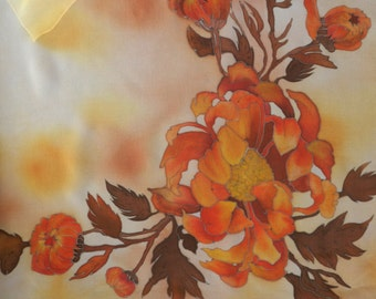 Caramel silk scarf. Hand painted salmon silk scarf. Ready to ship.