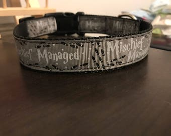 "1"" Marauders Map Collar (Mischief Managed Gray)"