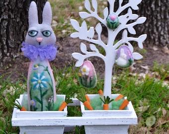 Spring Bunny - Bunny Art Doll - Needle Felted Bunny - Vintage Bunny