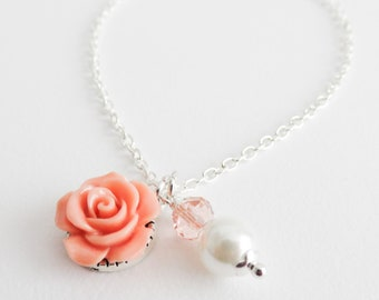 Peach flower girl necklace, girls ivory pearl necklace, peach wedding jewelry, flower necklace, flower girl gift, bridal jewelry