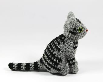 Realistic cat amigurumi: silver tabby