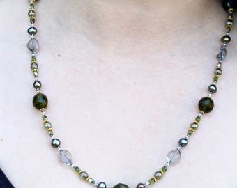 Single Strand Montana Blue Beaded Necklace with Freshwater Pearls  - FJ 10