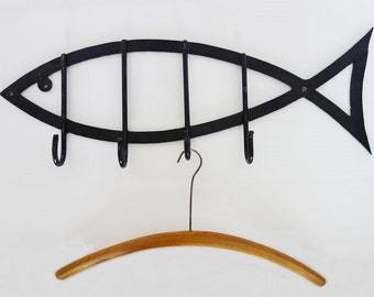 Mid Century Modern Coat Rack with 4 Hooks Made of Black Fish Shaped Cast Iron Wall Art