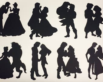 8 Disney Couple Inspired Silhouettes, card making, fairy jars, scrapbooking, crafting