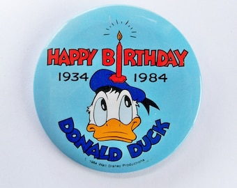 1984 Donald Duck 50th Anniversary Button, Pinback Button, Badge, Disney Collectible, Disneyland Memorabilia, Disneyana - FREE USA SHIPPING