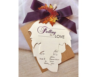 Falling in Love Wedding Invitation, Fall Wedding Invitations, Autumn Wedding Invitation, Purple Wedding Invitation, Rustic Wedding Invite
