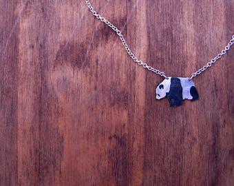 choker, necklace,panda necklace, panda jewelry, bear necklace, silver necklace, silver panda, animal necklace, animal jewelry