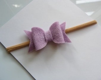 Wool felt bow headband - your choice of color - one size