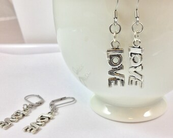 LOVE Earrings - Love Charm Earrings - L O V E Word Earrings - Stainless Steel Earrings - Word Charm Earrings - Pewter Charm Earrings
